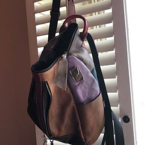 Multi-colored leather backpack